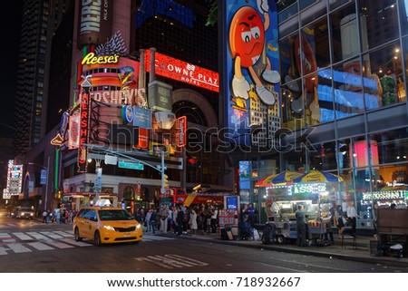 NEW YORK CITY, USA, September 10, 2017 : Times square at night. Times Square is a major commercial intersection, tourist destination and entertainment center in the Midtown Manhattan.
