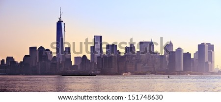 New York City, USA silhouetted panorama skyline. - stock photo
