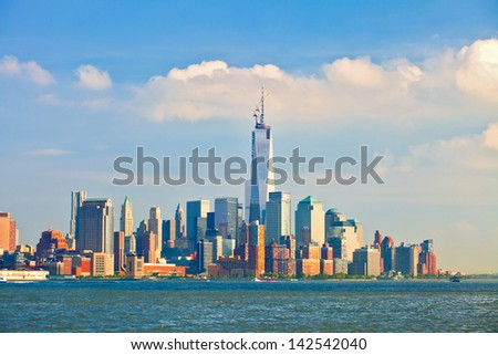 New York City, USA, skyline panorama of lower downtown Manhattan business district - stock photo