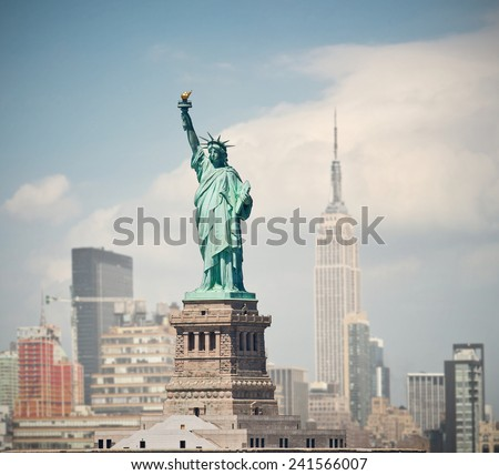 New York City, USA   skyline panorama with landmark buildings and statue of liberty