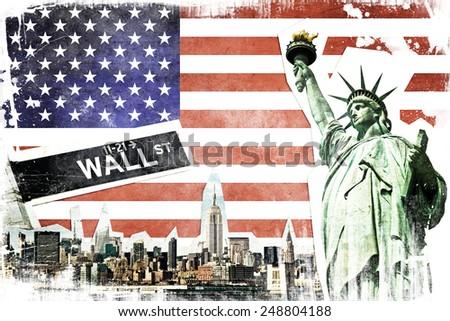 New York City vintage collage, US flag background - stock photo