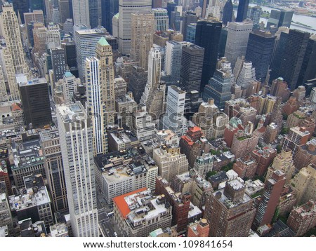 New York City with all its buildings and businesses - stock photo