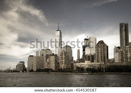 New York City with Manhattan skyline from Hudson River