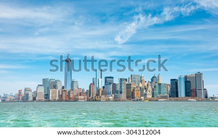 New York City with Manhattan Skyline over Hudson River.