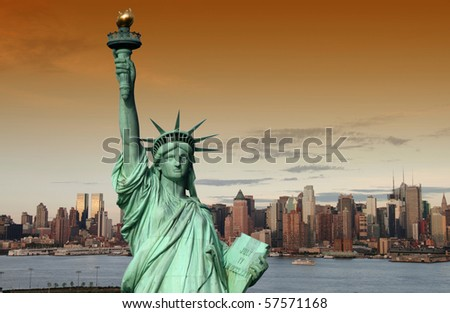 new york cityscape, tourism concept photograph. new york city skyline sunset evening. new york statue of liberty over new york manhattan midtown.