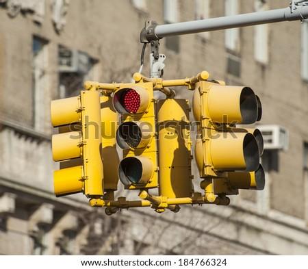 new york crossing red lamp - stock photo