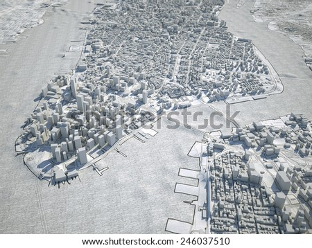 New York 3d map - stock photo