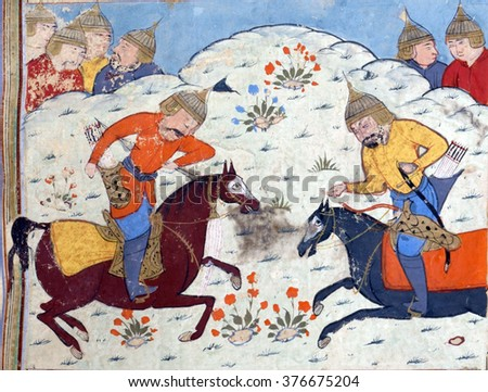 NEW YORK - DEC 14, 2015 - A third episode in the battle between the armies of Faramarz and Mihark, Persian miniature from the Shahnamah - stock photo