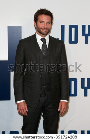 "NEW YORK-DEC 13: Actor Bradley Cooper attends the ""Joy"" premiere at the Ziegfeld Theatre on December 13, 2015 in New York City. - stock photo"