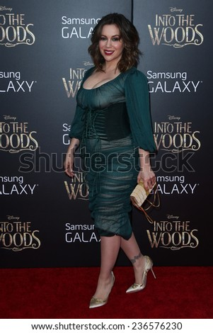 """NEW YORK-DEC 8: Actress Alyssa Milano attends the """"Into The Woods"""" premiere at the Ziegfeld Theatre on December 8, 2014 in New York City. - stock photo"""