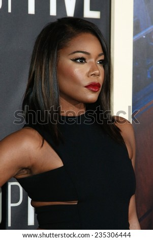"""NEW YORK-DEC 3: Actress Gabrielle Union attends the """"Top Five"""" premiere at the Ziegfeld Theatre on December 3, 2014 in New York City. - stock photo"""