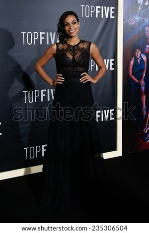"NEW YORK-DEC 3: Actress Rosario Dawson attends the ""Top Five"" premiere at the Ziegfeld Theatre on December 3, 2014 in New York City."
