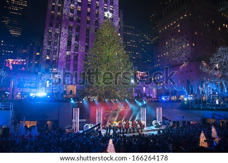 NEW YORK-DEC 4: Atmosphere at the 81st Annual Rockefeller Center Christmas Tree Lighting Concert and Ceremony on December 4, 2013 in New York City. - stock photo