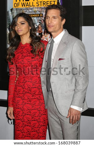 "NEW YORK - DEC 17: Camila Alves and Matthew McConaughey attend the premiere of ""The Wolf Of Wall Street"" at the Ziegfeld Theater on December 17, 2013 in New York City."