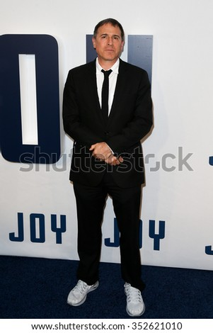 """NEW YORK-DEC 13: Director David O. Russell attends the """"Joy"""" premiere at the Ziegfeld Theatre on December 13, 2015 in New York City. - stock photo"""