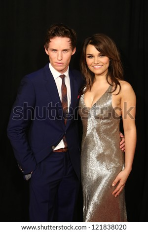 """NEW YORK-DEC 10: Eddie Redmayne and Samantha Barks attend the premiere of """"Les Miserables"""" at the Ziegfeld Theatre on December 10, 2012 in New York City. - stock photo"""