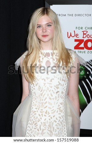 "NEW YORK - DEC 12:  Elle Fanning attends the premiere of ""We Bought A Zoo"" at the Ziegfeld Theatre on December 12, 2011 in New York City. - stock photo"