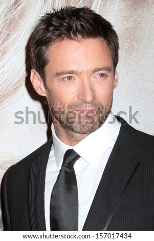 "NEW YORK - DEC 10: Hugh Jackman attends the premiere of ""Les Miserables"" at the Ziegfeld Theatre on December 10, 2012 in New York City. - stock photo"
