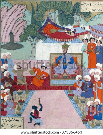NEW YORK - DEC 16, 2015 -Iskandar relaxing in his camp, Persian miniature from the Shahnamah
