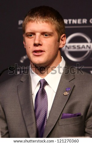 NEW YORK-DEC 8: Kansas State quarterback Collin Klein attends the 2012 Heisman finalists press conference at the Marriott Marquis on December 8, 2012 in New York City. - stock photo