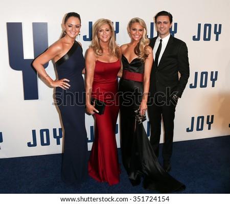 "NEW YORK-DEC 13: (L-R) Jacqueline Miranne, Joy Mangano, Christie Miranne and Robert Miranne attend the ""Joy"" premiere at the Ziegfeld Theatre on December 13, 2015 in New York City. - stock photo"