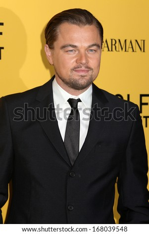 "NEW YORK - DEC 17: Leonardo DiCaprio attends the premiere of ""The Wolf Of Wall Street"" at the Ziegfeld Theater on December 17, 2013 in New York City."