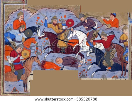 NEW YORK - DEC 12, 2015 - Manuchihr and his army defeat the forces of Kakvi, the grandson of Zahhak., Persian miniature from the Shahnameh - stock photo