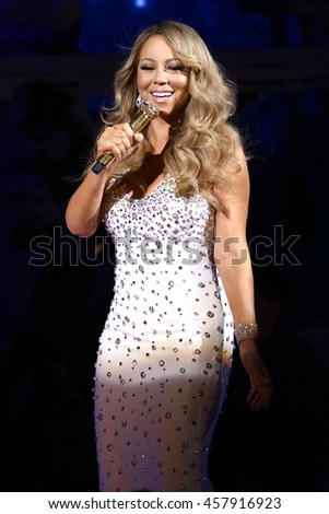 NEW YORK - DEC 11, 2015:  Mariah Carey performs at the Beacon Theatre on December 11, 2015, in New York City.