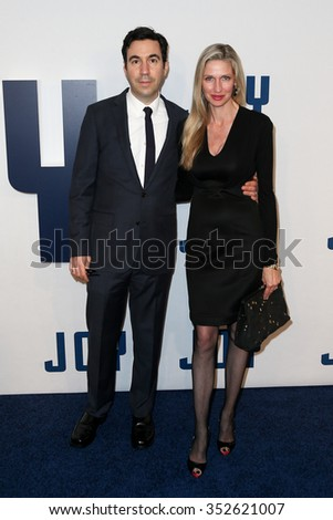 "NEW YORK-DEC 13: Model Catherine McCord (L) and producer Jonathan Gordon attend the ""Joy"" premiere at the Ziegfeld Theatre on December 13, 2015 in New York City."