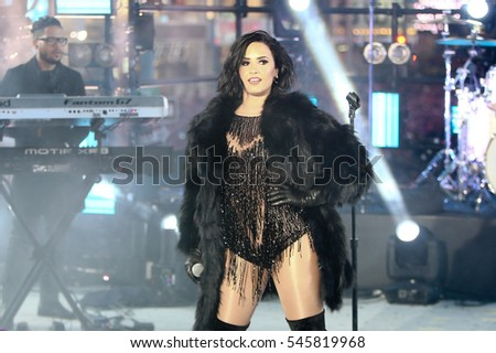 NEW YORK-DEC 31: Recording artist Demi Lovato performs during Dick Clark's New Year's Rockin' Eve at Times Square on December 31, 2015 in New York City.