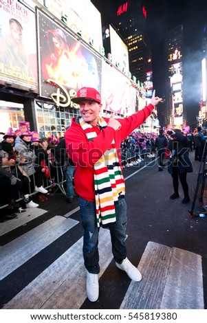 NEW YORK-DEC 31: Recording artist Rob Van Winkle aka Vanilla Ice attends Dick Clark's New Year's Rockin' Eve at Times Square on December 31, 2015 in New York City.