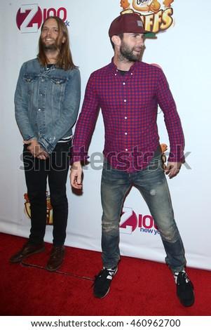NEW YORK DEC 12: Singer Adam Levine (R) And James Valentine Of