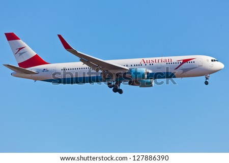 NEW YORK - DECEMBER 9: Boeing 767 Austrian Airlines on approach to JFK in New York USA December 9, 2012 Austrian, a flag carrier airline of Austria operates scheduled services to over 130 destinations