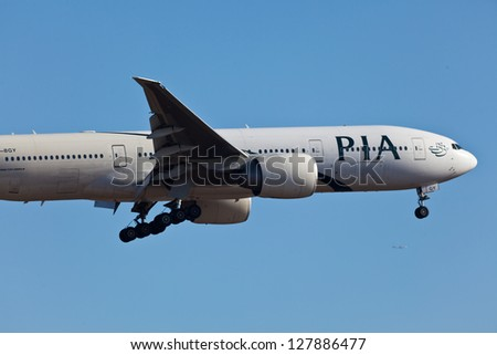 NEW YORK - DECEMBER 9: Boeing 767 Pakistan International Airlines on final approach to JFK Airport located in New York USA on December 9, 2012. PIA is the national flag carrier of Pakistan