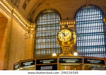New York, December 28, 2014: Famous Clock in the Concourse of Grand Central Terminal. GCT is a commuter railroad terminal in Midtown Manhattan with 44 platforms serving 67 tracks along them. - stock photo