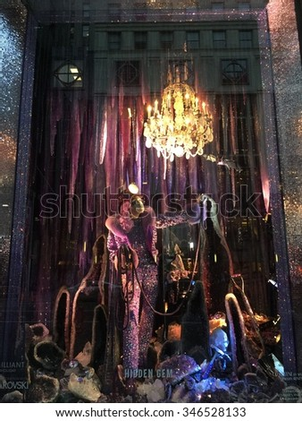 NEW YORK - DECEMBER 1, 2015: Holiday window display at Bergdorf Goodman in NYC on December 1, 2015.