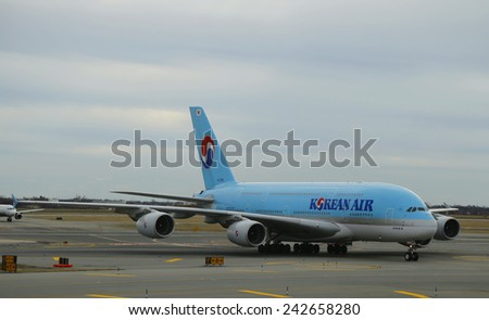 NEW YORK - DECEMBER 30, 2014: Korean Air Airbus A380 aircraft taxing  at John F Kennedy International Airport in New York  - stock photo