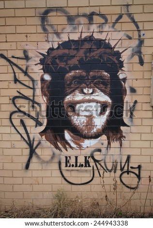 NEW YORK - DECEMBER 4, 2014: Mural art at East Williamsburg in Brooklyn. Outdoor art gallery known as the Bushwick Collective has most diverse collection of street art in Brooklyn  - stock photo