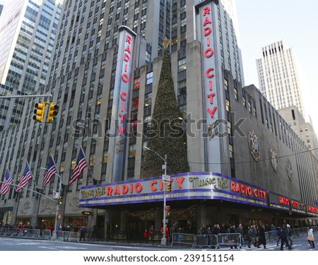 NEW YORK - DECEMBER 18: New York City landmark, Radio City Music Hall in Rockefeller Center decorated with Christmas decorations in Midtown Manhattan on December 18, 2014 - stock photo