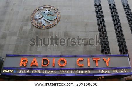 NEW YORK - DECEMBER 18: New York City landmark, Radio City Music Hall in Rockefeller Center in Midtown Manhattan on December 18, 2014 - stock photo