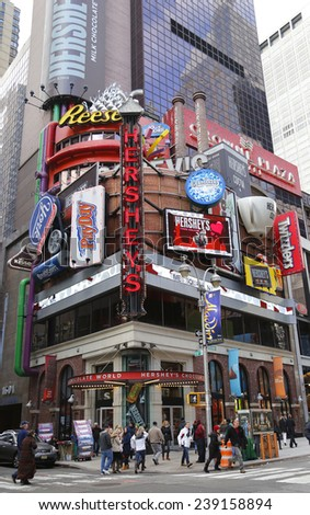 NEW YORK - DECEMBER 18: The Hershey's Chocolate  World Times Square store in Midtown Manhattan on December 18, 2014 - stock photo