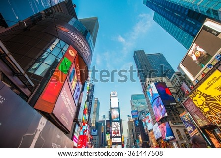 New York - DECEMBER 22, 2013: Times Square on December 22 in USA - stock photo