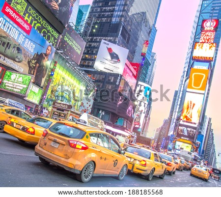 NEW YORK - DECEMBER 22, 2013: traffic in Times Square,New York..Times Square is a symbol of New York City and the United States