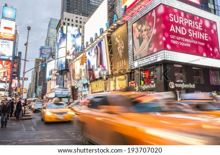 NEW YORK - DECEMBER 22, 2013: traffic in Times Square,New York..Times Square is a symbol of New York City and the United States - stock photo