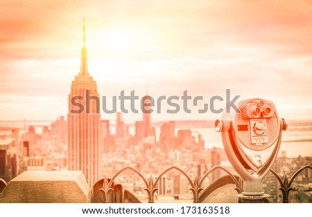 New York Downtown - Aerial view of Manhattan from a Binocular  - stock photo