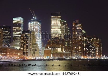New-York downtown skyscrapers at night