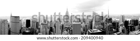 New York extra wide panorama black and white - stock photo
