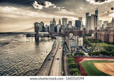 New York. FDR drive at sunset. - stock photo