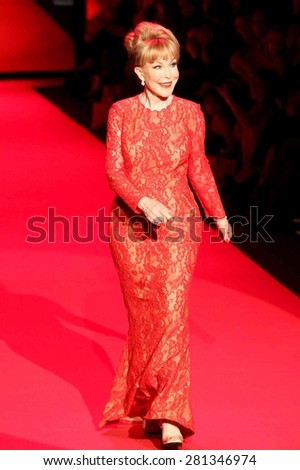 NEW YORK-FEB 12: Actress Barbara Eden wears Carmen Marc Valvo at Go Red for Women-The Heart Truth Red Dress Collection at Mercedes-Benz Fashion Week on February 12, 2015 in New York City. - stock photo