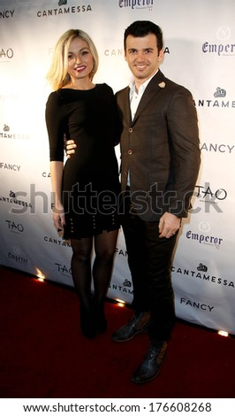 NEW YORK-FEB 10: Dancer Tony Dovolani (R) and wife Leah Dovolani attend the Cantamessa Men Launch Party at Tao Downtown Lounge on February 10, 2014 in New York City.